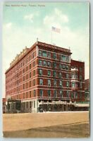 Topeka Kansas~New National Hotel~View from Across Street~Flag on Roof~c1910