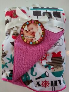 Northpoint Baby Velour Sherpa Blanket Ahoy Pirates Whale 30x40