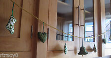 HAND MADE  XMAS GARLAND ON GOLD ROPE. 0VER 50 INCHES LONG.