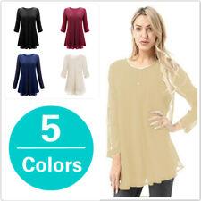 Women Casual Leisure O Neck Pleated Cuffed Sleeve Chiffon T-shirt Blouse Tops