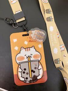 Chubby Cat Bubble Tea Boba ID CARD Holder Neck Strap Lanyard Charm Kawaii Funky