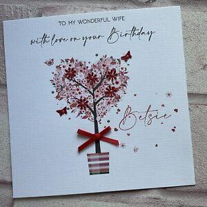 PERSONALISED Handmade BIRTHDAY ANNIVERSARY CARD  Girlfriend Wife Fiancé RT