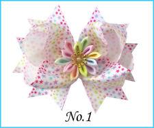 "6 BLESSING Girl 4.5"" Lotus Hair Bow Clip Rainbow Flower Star Heart Ribbon Baby"