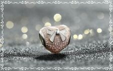 PANDORA PINK BOW AND LACE HEART CHARM 792044ENMX NEW