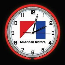 "19"" American Motors Sign Double Neon Clock Chrome Red Neon AMC Man Cave"