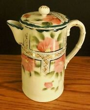 Hand Painted Nippon Chocolate Pot with Lid Pink Green Flowers