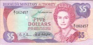 BERMUDA  P. 35a-2457 5 DOLLARS 1989  PFX B/1  ELIZABETH II, EF WE COMBINE
