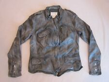 FREE PEOPLE WOMENS FADED BLACK LEATHER MOTORCYCLE JACKET SIZE MEDIUM NEW RARE