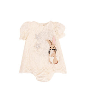 RRP€435 DOLCE & GABBANA Lace Dress & Bloomers Size 3-6M 62-68CM HANDMADE Patches