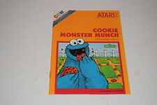 Cookie Monster Munch Atari 2600 Video Game Instruction Manual Only