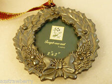 Forget Me Not Christmas Wreath Frame Ornament 2x2 Picture Frame Pewter