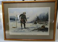 Mid century American Winter Sports print framed glass reprinted from 1856