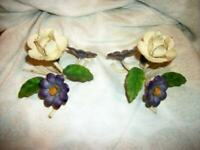 ITALIAN TOLE CANDLE HOLDERS PURPLE FLOWERS CREAMY ORIGINAL EARLY MID CENTURY
