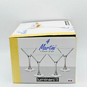 Set of 4 Vintage Luminarc 7 1/4 oz. Martini Glasses USA  Cocktail Happy Hour