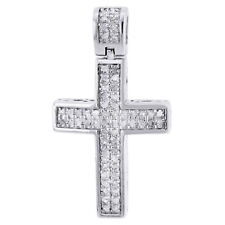 Real Diamond Cross Pendant Mini Jesus .925 Sterling Silver Pave Charm 0.33 CT.