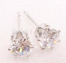fashion1uk 5mm White Gold Plated Simulated Diamond Men Boy Classic Stud Earrings