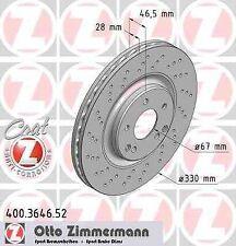 Disque de frein avant ZIMMERMANN PERCE 400.3646.52 MERCEDES-BENZ CLASSE C W203 C