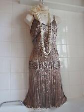 NEW LOOK 16 VTG Style 1920's Sequin Bead Crinkle FLAPPER Charleston Gatsby Dress