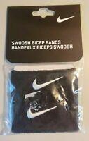 "NIKE Swoosh Bicep Bands Unisex 1 1/2"" Wristbands Color Black 1 PK Set of 2 New"