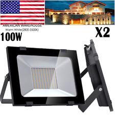 2X 100W Watt LED Flood Light Warm White Outdoor Security Work Spotlight AC110V