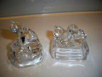 2 VINTAGE PRESSED GLASS FIGURINES OF CATS