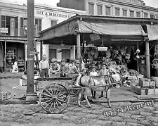 Historical Photograph of New Orleans Louisiana French Market Stand & Wagon 11x14