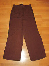 next brown black elasticated wide leg trousers size 8 regular brand new with tag