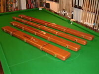 Peradon Brown Real Leather Cases inc-Cheney Fittings Chesworth Cues Sheffield