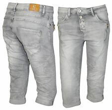 Lexxury Boyfriend Capri 3/4 Hose Bermuda Damenjeans Jeans Haremshose grau