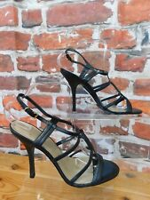 Faith Lexplos black leather sandals UK 8 strappy party prom holidays glam *NEW*