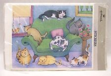 Hallmark Cat 28 Stickers Pack 4 Sheets Kitties Spotted Striped Gray SS4244 USA
