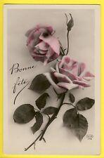 cpa BONNE FÊTE SUPERBE ROSES de Louis et Marie à Alice MÉCHIN de VIRY CHATILLON