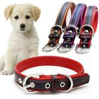 PU Leather Solid Soft Pet Dog Cat Collar Neck Strap Adjustable Safe  S M L AU v