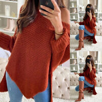 ❤️Women Long Sleeve Knitted Sweater Ladies Casual Irregular Pullover Tops Jumper