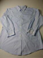 Brooks Brothers 346 Mens Slim Fit Dress Shirt Sz 17 2/3 Blue Striped Non Iron