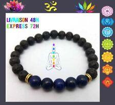 Bracelet 7 chakras pierre de lave Bouddha Lapis Lazuli CHAKRAT 3ème Oeil T10
