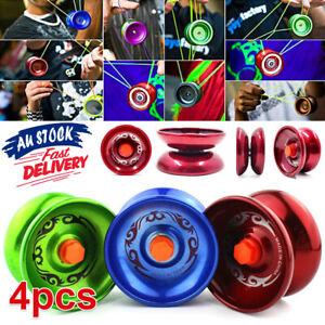 4X Aluminum Professional Yo-Yo  Bundle Bearing Ball Kids Toy Magic YoYo