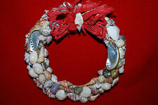"Sea Shell Wreath 7"" Beach Tropical Ocean Fish Bow Oyster Bow Free Shipping"
