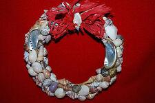 "Sea Shell Wreath 7"" Beach Tropical Ocean Fish Bow Oyster Bow Free Shipping"