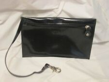 Varriale Polished Black Leather Hook On Wallet Cosmetic Bag 9.5 x 6 Small