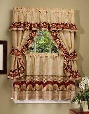 SUNFLOWER BURGUNDY COMPLETE KITCHEN CURTAIN SET- WINDOW CURTAIN  FLOWERS