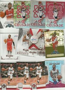 CHRIS PAUL EXCALIBUR RAINBOW LOT (12) DIFFERENT W/ #'D CRUSADE RED SILVER PRIZM