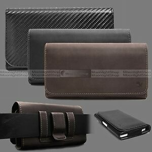 Horizontal Cell Phone Carrying Leather Pouch with Belt Clip Loop Prefect Fit