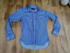 RALPH LAUREN coloured logo vintage Blue Striped Shirt Size Mens16.5 neck