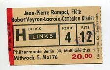 Alte Eintrittskarte/Vintage ticket: JEAN-PIERRA RAMPAL Berlin (1976)