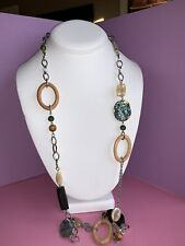 "Fall Style lia sophia MANTRA 38-41"" silver tone mop Abalone wood necklace RV $82"