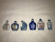 Chinese Vintage ceramic hand painted snuff scent bottles - group of 6