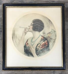 1920's Vintage Framed Print FLAPPER LADY SMOKING Elegant Art Deco Signed BACON