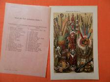 INDIANER Indianische Kultur  Marterpfahl Totem  Feder LITHOGRAPHIE 1895