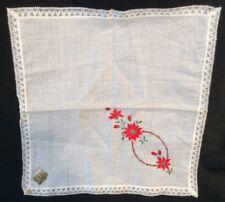 Christmas vtg Handkerchief Hankie Hanky Poinsettia white cotton Embroidery